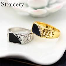 <b>Sitaicery</b> Gold Silver Plated Black Enamel Rings Men Vintage Ring ...