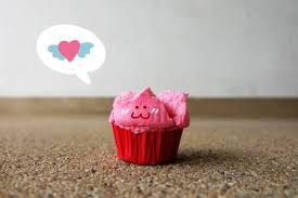 Thai Dessert, <b>Pink</b> Steamed Cup <b>Cake Smile</b> Face On Concrete ...
