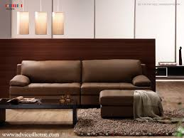 Living Room Brown Sofa Room With Wooden Partition Wall And Dark Brown Sofa Design
