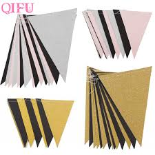 <b>QIFU</b> Pink White Flag Banner <b>Gold</b> Glitter Paper Pennant Bunting ...