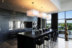 small country kitchen lighting with black countertop and box lamps breathtaking modern kitchen lighting options