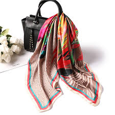 <b>Retro Style Printed</b> Silk Scarf Women Square Satin Scarfs <b>70*70 Cm</b> ...