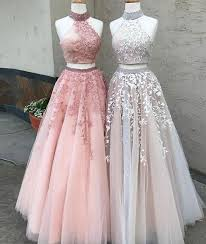 High Fashion A-Line Two-Piece <b>High Neck Tulle Long</b> Prom Dress ...