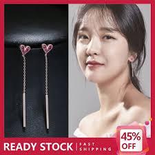 Korean Earring <b>Rose Heart</b> S925 Silver Long <b>Style</b> 1 Pair Total ...