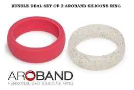 Set of 2 Aroband Silicone Rings Womens Rubber Silicone <b>Wedding</b> ...