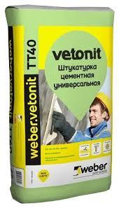 <b>Штукатурка Weber</b> Vetonit TT40, 25 кг — купить по выгодной цене ...
