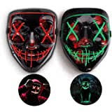 2 Pcs Halloween LED Light Up Mask - Adjustable EL ... - Amazon.com
