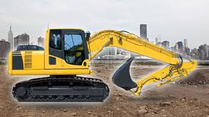 excavator on the job site construction vehicles for kids
