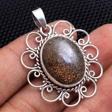 Oval Dinosaur Bone Gemstone 925 Sterling Silver Jewelry Designer ...