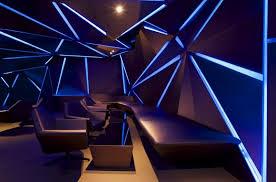 side seats of cool bar with black theme and amazing lighting amazing lighting