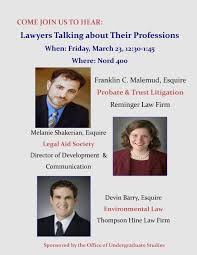 three lawyers to give insight into their careers during final pre the