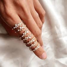 <b>HOMOD 2019 New Fashion</b> Weave Crystal Rings For Women Gold ...