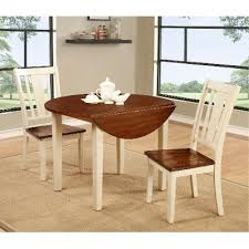 three piece dining set:  piece dining set transitional dover white and cherry round