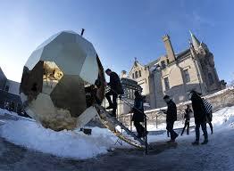 Giant golden <b>egg</b>-<b>shaped</b> sauna lands <b>in</b> Minneapolis to spark ...