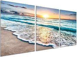 Beach Canvas print Wall Art - Sunset Ocean Waves ... - Amazon.com