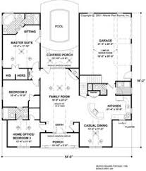 images about house plans on Pinterest   Ranch house plans    Large kitchen is open to dining and family room  While I would use pool area