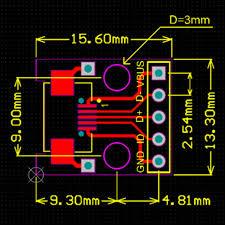 <b>5PCS mini USB</b> to DIP <b>Adapter Converter</b> for 2.54mm PCB Board ...