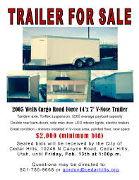 city surplus enclosed utility trailer for cedar hills the city currently has an enclosed utility trailer available for click on the flyer icon for more details about the trailer and important information