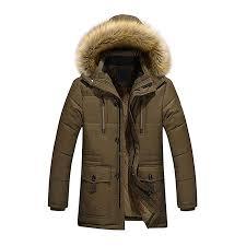 diandianshop Men's Coat Warm Down Cotton Jacket <b>Fur Collar</b> ...