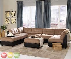 u piece living room set u shaped microfiber sectional sofa shaped two tone tan brown modular