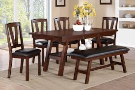 small dining bench:  dining table poundex dark walnut table amp chairs bench dining set dining tables and chairs