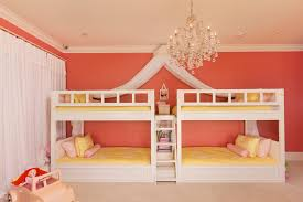 contemporary kids example of a large trendy kids room design for girls in los angeles with amazing twin bunk bed