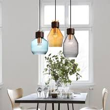 kitchen 1 pcs interior lighting pendant light with glass cover grey blue amber pendant lamps led amber pendant lighting