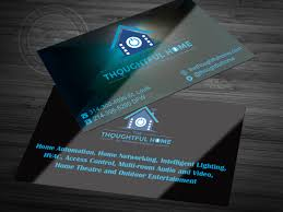 bold serious business card design for the thoughtful home by business card design by saria siddiqui for home automation av networking home theatre
