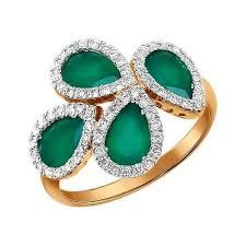 Золотое кольцо с хризопразами <b>обрамлёнными бриллиантами</b> ...