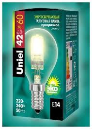 <b>Лампа галогенная Uniel</b> UL-00005215, E14, G45, <b>42Вт</b> — купить ...