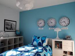 room cute blue ideas: teens room unusual teenage bedroom with white book storage and  time wall clock also blue pattern bed sheet idea interesting blue teenage bedroom ideas