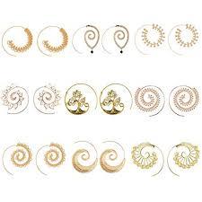 9 Pairs Golden Bohemian <b>Vintage</b> Tribal Swirl Spiral <b>Hoop Earrings</b> ...