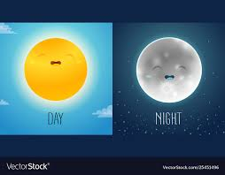 <b>Day and night</b> with <b>cute</b> sun and moon characters Vector Image
