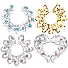 2PCS Gold/Silver Color Fake Piercing Heart <b>Round Crystal Clip On</b> ...