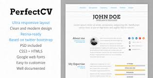 professional html  amp  css resume templates for free download  and    perfectcv – responsive  bootstrap cv   resume