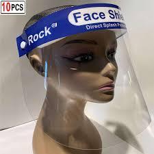 Unisex <b>10pcs Face Shield</b> Safety Full <b>Face Shield</b> Transparent <b>Visor</b> ...