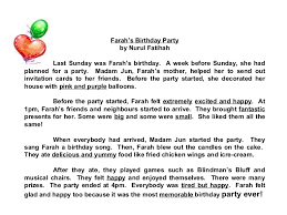 star compositions a birthday party   check out the adjectives