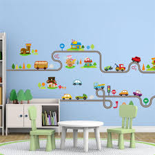 % <b>Cartoon</b> Car <b>Bus</b> Highway Track Wall Stickers For Kids <b>Rooms</b> ...