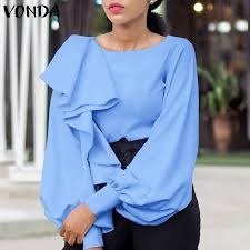 <b>2021 VONDA Women</b> Blouse Spring Casual Long Sleeve Solid ...