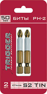 <b>Биты ПРОФИ</b> (2 шт; 50 мм; PH2; TIN) <b>ТРИГГЕР 84972</b> тов-128288 ...