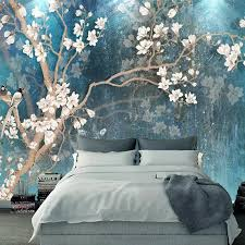 <b>Custom</b> 3D Wall Murals Wallpaper Nordic Blue Vintage <b>Hand</b> ...