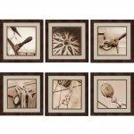 distress framed wall art living  distressed black outer wooden wall art square brown grey sepia compas