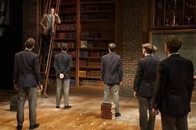 dead poets society   theatermaniacom john keating jason sudeikis on ladder teaches a class of impressionable prep school