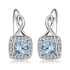 New <b>925 sterling silver</b> Clip Earrings in <b>Natural</b> Sky Blue Topaz IS1 ...