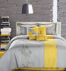 yellow and gray bedroom: gray and yellow bedroom waplag modern interior with duvet cover bed black dining room table