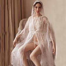 2019 <b>Yhotmeng New</b> Sexy White Lace Perspective Fairy Long ...