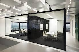 beautiful office interior designs in modern concept bold black room divider black floor white chairs black and white office design