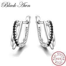 2019 <b>BLACK AWN Genuine 925</b> Sterling Silver Earrings Hoop ...
