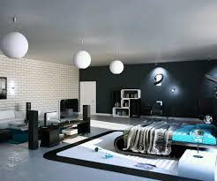 open plan black and white scheme male bedroom design with curved shaped black wood bed bed design 21 latest bedroom furniture