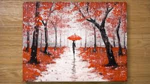 Walking in the Rain / Red Acrylic <b>Painting</b> Technique #448 - YouTube